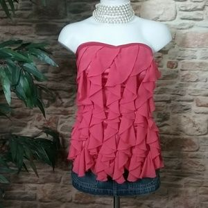 XOXO Sleeveless Ruffle Front Top